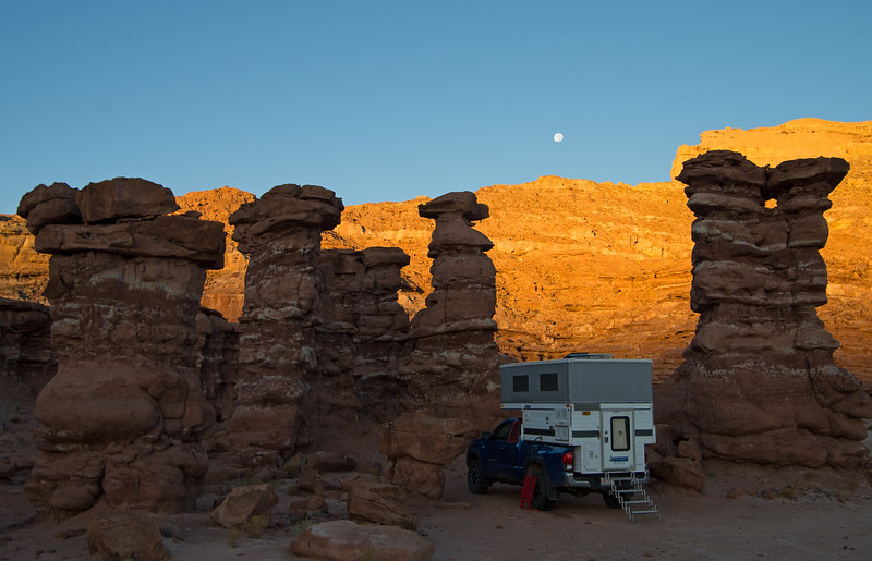 Leaving Cedar Mesa behind for now and headed SE, we stopped for the night at Recapture Pocket east of Bluff, where welcome shelter from the seemingly incessant winds was found in the lee of these hoodoos.