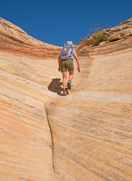 With the pour-off out of the way- this short pitch of steep sandstone was the final obstacle.
