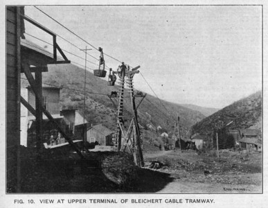 "Highland Boy Tramway Upper Terminal. Taken from ""Different Methods of Hauling Ore at Bingham, Utah"" by W.P. Hardesty, C.E., Engineering News, July 24, 1902."