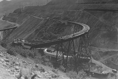 Armstrong Tunnel in 1939 , showing the 'I' Bridge being built, with the newer Bingham Metals ore bins already in place. Note the fresh metal color of the Bingham metals ore bins.