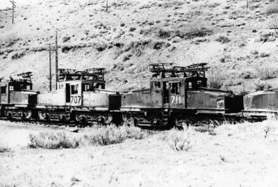 Kennecott 707 and 711 in Bingham dead line. 1972. (Don Strack Photo)