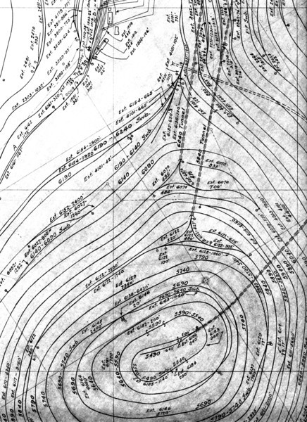 This drawing shows the three tunnels and their relationship to each other in the Bingham mine itself. The grid lines are north-south, with the top being due north.