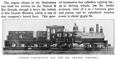 The image from the March 1906 issue of Railway and Locomotive Engineering magazine, shows that Copper Belt Shay no. 4 was actually delivered as Rio Grande Western no. 4.