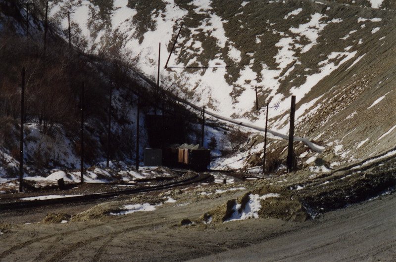 The last ore train exits the 5840 tunnel, at the head of Bingham Canyon. March 19, 2000.