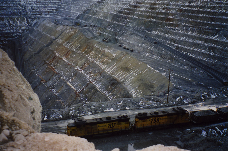 Last ore train leaving Bingham Canyon mine, March 19, 2000.