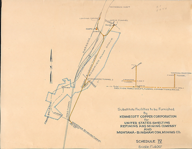 Map of the Montana-Bingham tunnel portals, and the relocated locations to allow Utah Copper's 6040 tunnel in 1944-1945. Courtesy of Steve Richardson.