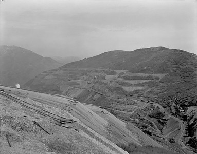 "Looking at what has been called ""East Mountain,"" east of the Utah Copper open pit mine. By the late 1920s, almost all of the mountain and the ore veins under it were controlled by Montana-Bingham, and later by USSR&M. (USHS-39222002153455)"