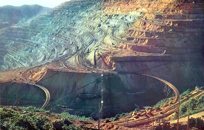 Bingham open pit mine. From Fortune magazine, April 1930; color variation as published.