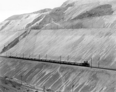 Kennecott 762 moving the largest ore train to date, with 20 cars, down to Copperton. November 7, 1965. (Steve Swanson Photo)