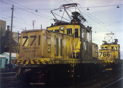 Kennecott 771 and 766. Copperton. November 7, 1965. Note that the '7' digit is fresh; the unit had just been renumbered from 871.(Steve Swanson Photo)