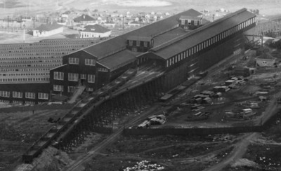 Magna mill, 1912, showing ore cars used by RGW between Bingham and Magna mill.