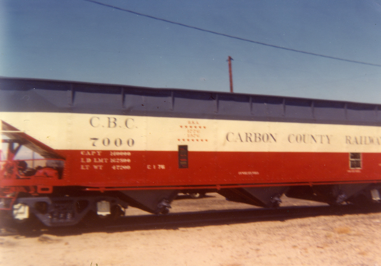 Carbon County, red-white-blue hopper car. (Bill Shaff Collection)