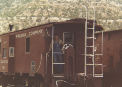 Carbon County steel caboose, with Joe Shaff. (Bill Shaff Collection)