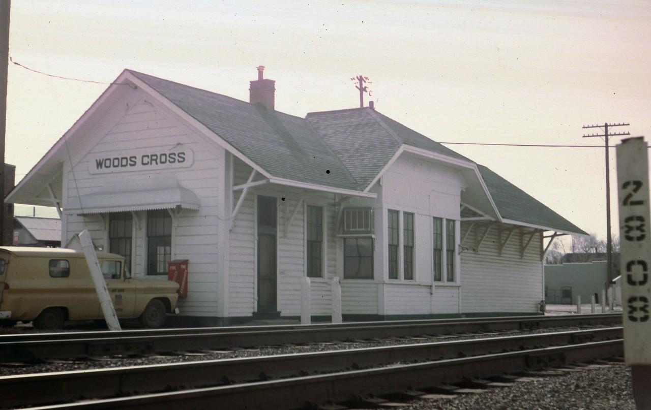 UP Woods Cross depot, Woods Cross, Utah. March 1970. (Dave England Photo)