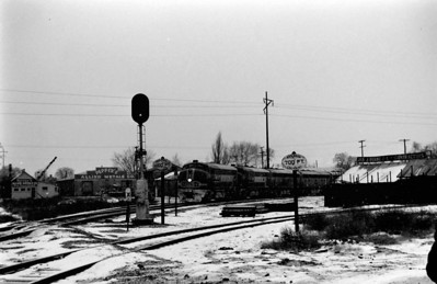 Santa Fe detour through Salt Lake City, January 13, 1962. Westbound through Grant Tower interlocking, view is looking north at 5th (600) West.