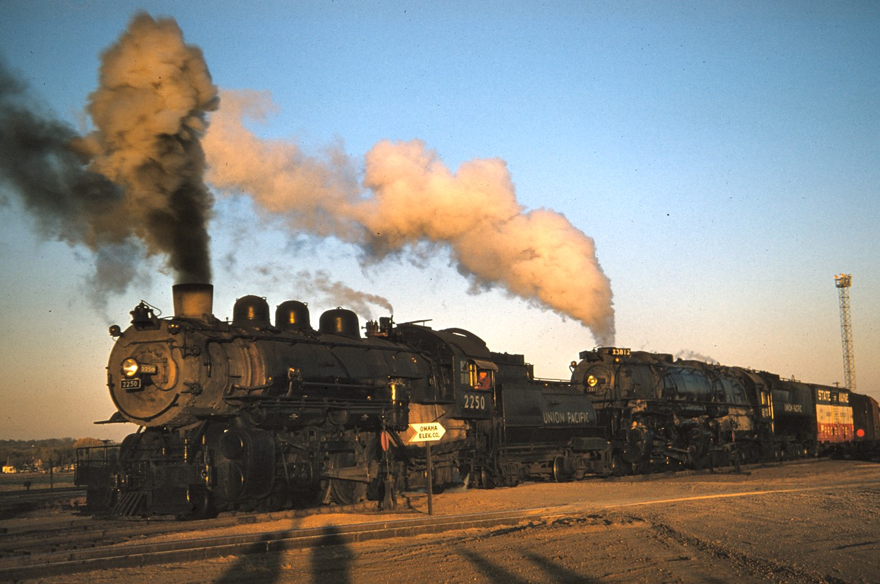UP 2250 and 3814, Council Bluffs, October 27, 1956. (Dave England Photo)