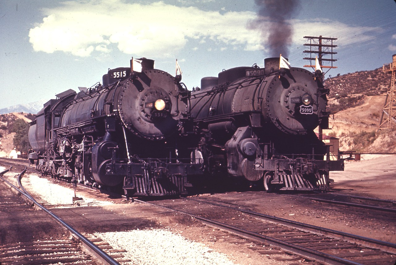UP 5515 and 5090, Cajon. (Chard Walker Photo, Dave England Collection)