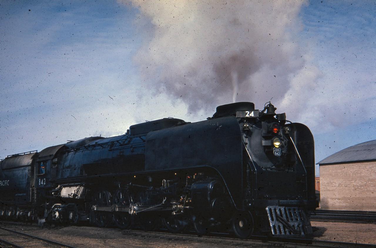 UP 842, Cheyenne, April 11, 1954. (Dave England Photo)