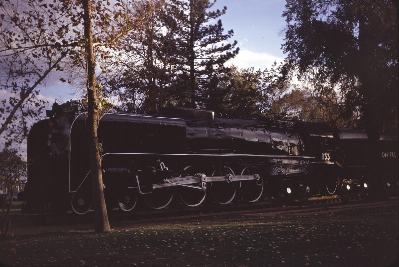 UP 833, Pioneer Park, Salt Lake City, October 1972. (Dave England Photo)