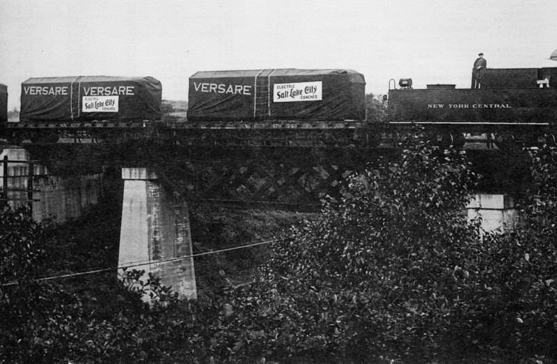New York Central carrying Salt Lake City electric coaches to Utah, 1928. (uebr_37-9_13)