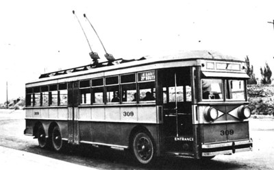 Electric coach number 309, poses for the camera at the turnback loop at 21st South and 4th East at the end of route 11, on October 20, 1928. (mca_39-1_7b)