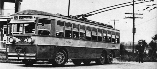 UL&T 300 - On an early test run the first Salt Lake City trackless trolley shows its ability to swing far from the overhead. (Railway Negative Exchange; bw_5-5_20)