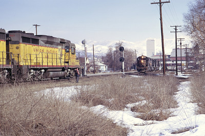GP30s on UP's St. John Local wait for a D&RGW train to pass through the Grant Tower interchange. March 1973. (Don Strack Photo)
