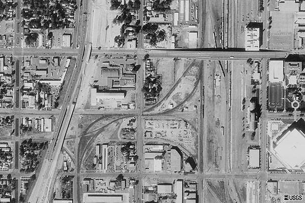 A 1940s USGS aerial photo, prior to the changes by UP in late 2007.