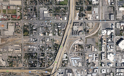 A current Google view, in late 2014, showing the changes completed in late 2007, along the the addition of UTA Frontrunner tracks at the same time.