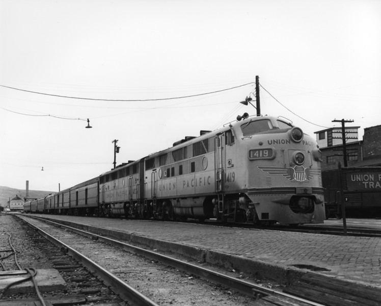 up-1419_F3_with-passenger-train_butte-montana_aug-1963_jim-shaw-photo