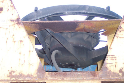 The under side of a 48-inch radiator fan, showing where the electrical connectionattaches to the base of the fan motor. Don Strack Photo