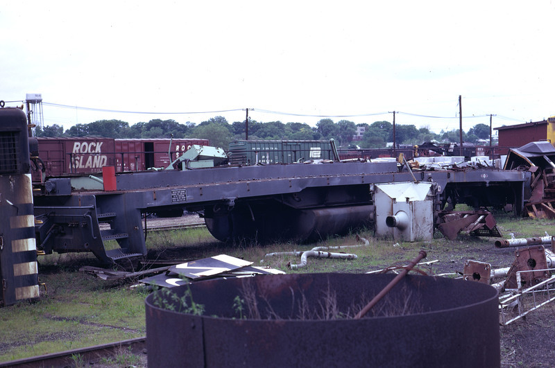 The frame of an ex SP GP35 in the back lot of Rock Island's Silvis shops. May 1973. (Don Strack Photo)