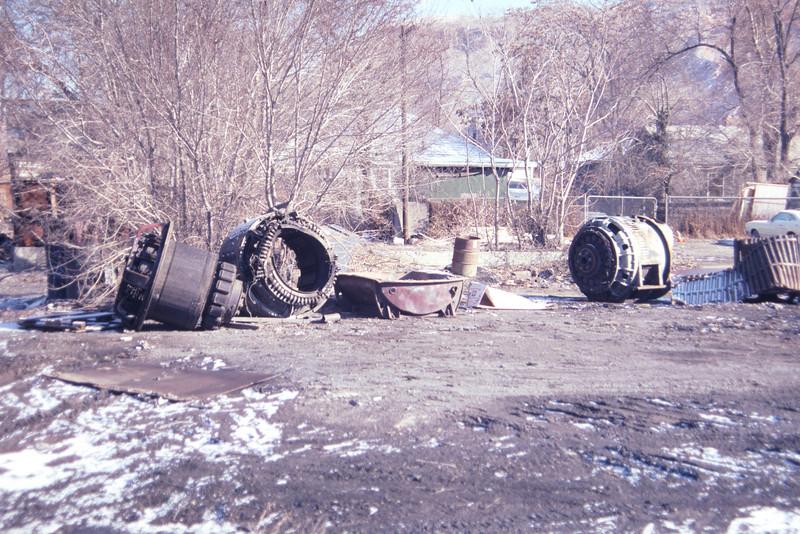 EMD main generators at scrap yard in Salt Lake City. March 1983. (Don Strack Photo)
