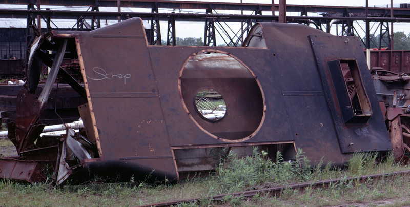 The dynamic brake hatch of a GP35 in the back lot of Rock Island's Silvis shops. May 1973. (Don Strack Photo)