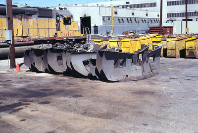 SD40 and SD40-2 snow plows. UP's Salt Lake City shops. (Don Strack Photo)
