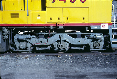 GE's standard three axle truck, as used on UP C40-9W 9400. November 1990. (Don Strack Photo)
