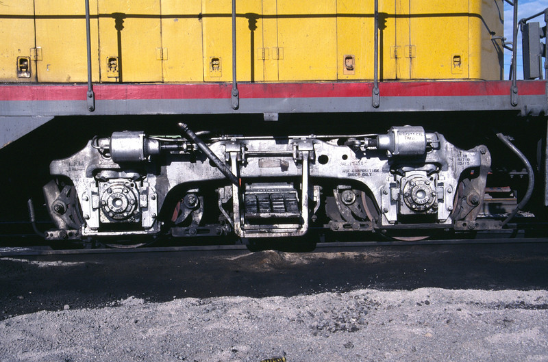 EMD Blomberg B truck, as used on the rear of UP GP9 156. Salt Lake City, May 1984. (Don Strack Photo)