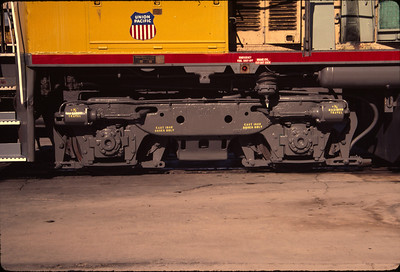 EMD Flexicoil truck, as used on UP SW1500 no. 1317 (ex WP 1503). August 2, 1984. (Don Strack Photo)