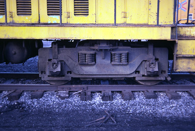 A view of the truck used on a GE 70 ton locomotive, as used on Kennecott 777. Salt Lake City, December 1983. (Don Strack Photo)