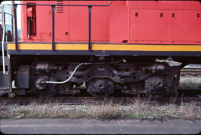 The special three axle, two motor (A-1-A) truck used by GMD on the Canada-only GMD-1 locomotive. March 1988. (Don Strack Photo)