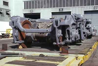 End view of EMD Blomberg B truck. Salt Lake City, October 1991. (Don Strack Photo)