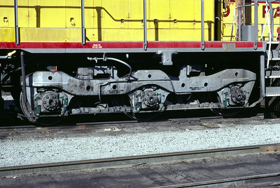 EMD Flexicoil C truck, as used on UP SD40 3067. This is the low-mounted two-brake-cylinder version. Salt Lake City, July 1983. (Don Strack Photo)