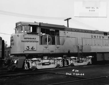 GE U50 truck. (UP Photo; Warren Johnson Collection)