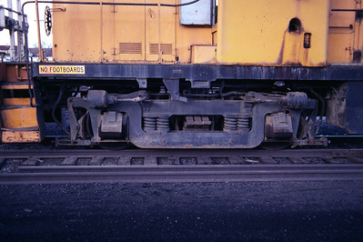 AAR Type B trucks, as used on Kennecott RS-2 731. Salt Lake City, December 1983. (Don Strack Photo)
