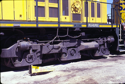 A view of the bolsterless truck used on new GE locomotives, in this case a C&NW C44-9. June 1994. (Warren Johnson Photo)