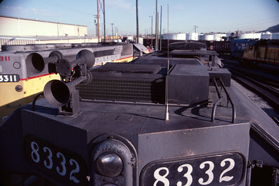 SP SD40T-2 8332, cab top view. August 1984. (Don Strack Photo)