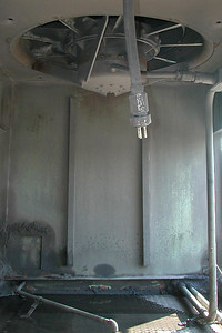 SD40T-2 radiator compartment, looking at front interior wall and front radiator fan.