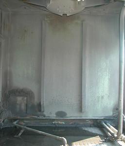 SD40T-2 radiator compartment, looking at front interior wall.