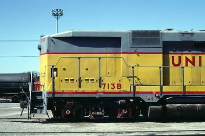 UP GP30B 713B, no steam generator, left front; August 1983. (Don Strack Photo)