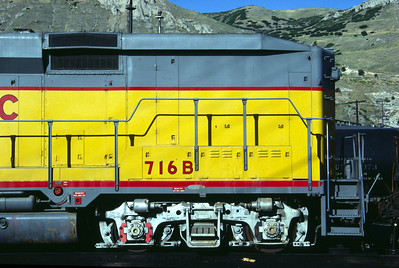 UP GP30B 716B, no steam generator, right front; August 1983. (Don Strack Photo)